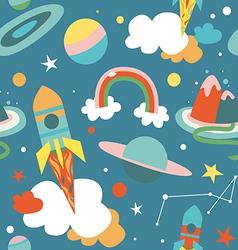 Cartoon cosmos blue seamless pattern vector image vector image