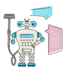 Cartoon cute chat bot cleaner vector