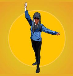 Cartoon woman in sportswear standing hands vector