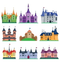 Castle cartoon set vector image