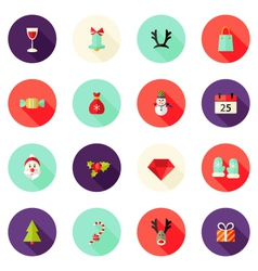 Christmas circle flat icons set 2 vector