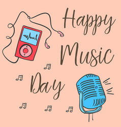 Collection stock music day celebration card vector