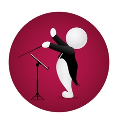 Conductor standing front music stand vector