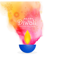 creative diwali festival background with colors vector image vector image