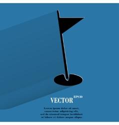Golf flag flat modern web button with long shadow vector