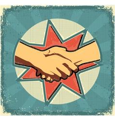 Handshake poster retro vector