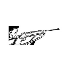hunter aiming rifle woodcut vector image vector image