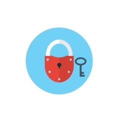 Key and Lock symbol on blue background - round vector image