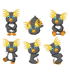king penguins cartoon set character vector image vector image