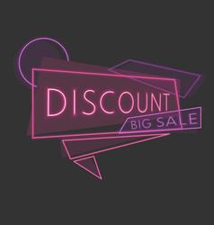 line discount neon banner vector image vector image