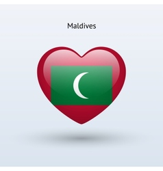 Love Maldives symbol Heart flag icon vector image