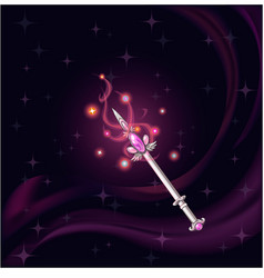 magic wand witch pink gem vector image vector image
