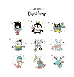 Merry christmas hand drawn cute doodles stickers vector