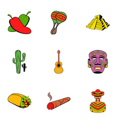 mexican travel icons set cartoon style vector image vector image