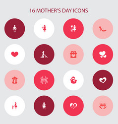 Mothers day icon design concept set of 16 such vector