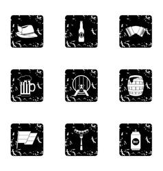 Oktoberfest icons set grunge style vector