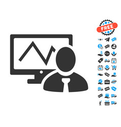 Online trader icon with free bonus vector