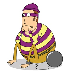 sad fat prisoner vector image