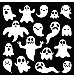 Scary white ghosts design - Halloween vector image vector image