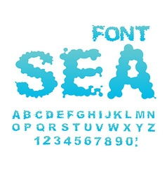 Sea font Water ABC Aqua alphabet Wet Letters Blue vector image