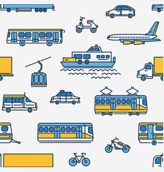 seamless pattern with transport of different types vector image