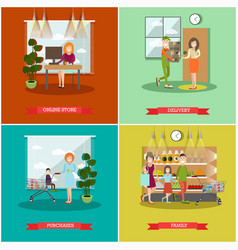 Set of purchases concept posters banners vector