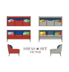 Sofas Set Furniture for Your Interior Design vector image vector image
