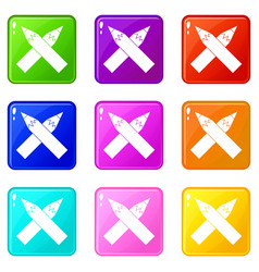 Two crossed pencils icons 9 set vector