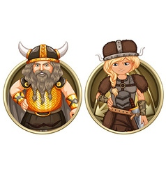 Viking male and female on round badge vector