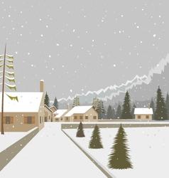 Winter mountain village ski resort vector image vector image