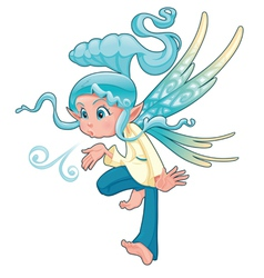 Young fairy blowing a spell vector