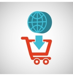 Ecommerce with globe earth connection vector