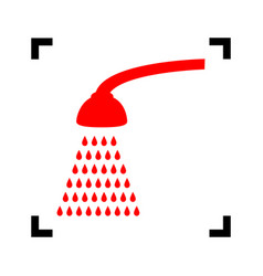Shower simple sign  red icon inside black vector