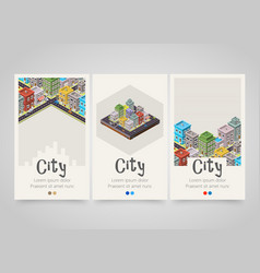 Modern colorful vertical city banners map or vector
