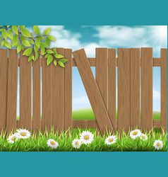 Wooden fence broken plank vector