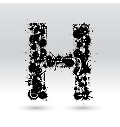 Letter h formed by inkblots vector
