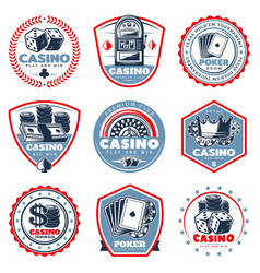 vintage colored casino labels set vector image