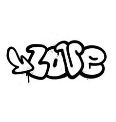 Graffiti love word in black over white vector
