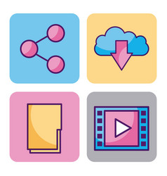 cloud computing digital elements app social media vector image