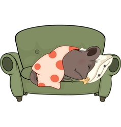 Sleeping mouse cartoon vector