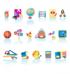 school supplies icons vector image