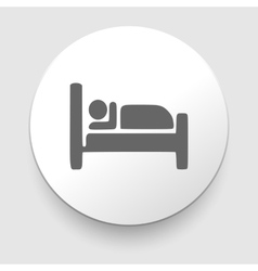 Man sleeping in bed at motel - icon vector