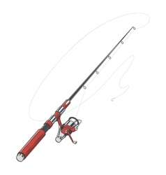 Red fishing rod spinning with bait vector