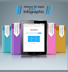 3d infographic tablet icon vector