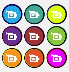 Video camera icon sign nine multi-colored round vector