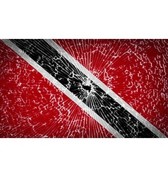 Flags trinidad and toba with broken glass texture vector