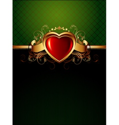 ornate frame with golden heart vector image