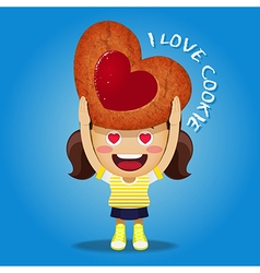 Happy woman carrying big strawberry jam cookie vector
