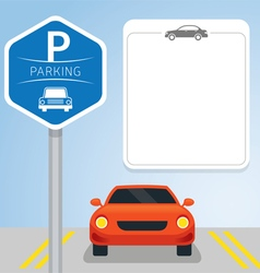 Car with parking sign vector