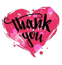 Thank you calligraphy valentines day card vector